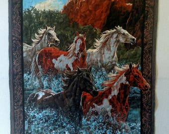 Running Free Wild Horses Finished Baby Quilt/Wall Hanging 36X43
