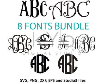 Fonts for Cricut svg files Font svg files Cricut Monogram Font Bundle svg Cricut design space Silhouette Studio font download svg