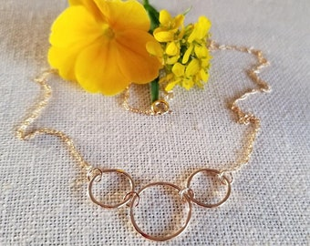 Simply Elegant Three Rings Necklace
