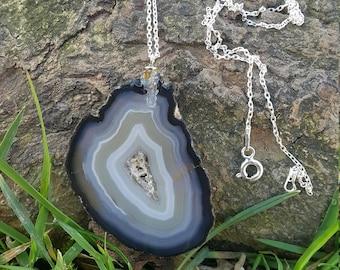 Agate Slice Pendant Handmade & Silver