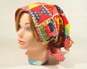 Vintage 60's Patch work Head Scarf (Reversible)