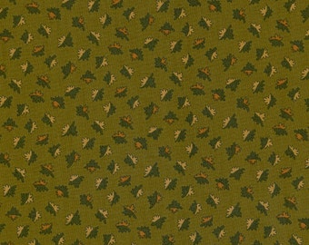 Thimbleberries - Autumn Sunset Tiny Leaves on Green Fabric