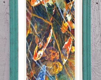 """Koi Fish Art Framed 12x22"""" Matted Print Signed and Numbered"""