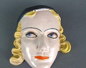 Marlena Dietrich Wall Mask by Goldscheider  1930s Art Deco