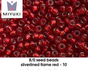8/0 silverlined flame red - 10 - seedbeads