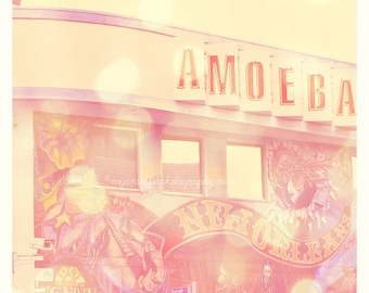 Amoeba Records photograph, Sunset Blvd, Hollywood Los Angeles photo, music, pink, vinyl records, rock star musicians, print, loft art