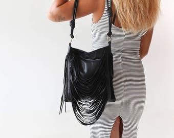 Leather Fringe Bag, Fringe Crossbody Bag, Leather Fringe Purse, Leather Boho Bag, Fringe shoulder Bag, Black Leather Shoulder Bag