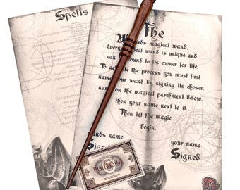 Handmade Wizards Mahogany Solid Wood wand,Harry Potter inspired- with spells and a platform 9 3/4 train replica ticket.