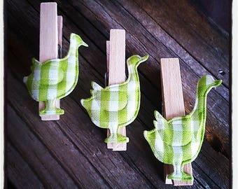 set of 3 clothespins wooden ducks
