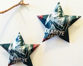 Deadeye Jack Porter Star, Recycled Beer Can Ornaments, Upcycling. Lonerider Brewing, Gunslinger, Smoking Cowboy