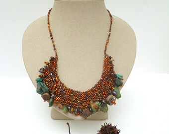 Peyote stitch brown bib necklace with turquoise, one of a kind wearable art featured in the Belle Armoire Jewelry Magazine, Forest in fall X