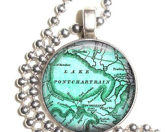 Lake Pontchartrain,  New Orleans Vintage Map Art Pendant, Earrings and/or Keychain, Round Photo Silver and Resin Charm Jewelry