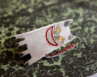 Handmade Sterling Silver Cat Brooch Pin, CHESHIRE CAT, Patinated, Hand Painted, Hand Engraved, Silver Cat, Contemporary Silver