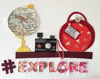 Hashtag 'Explore' Embroidery Pattern