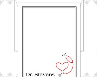 Doctor stationery set of 10 flat cards and envelopes, Physician stationery, Dr stationery set, Personalized Notes for Doctors, Stethoscope