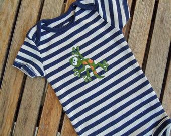 Baby Boy Striped Bodysuit with Embroidered Gecko Lizard, Creepy Crawlie Onesie, Size 9 Mos.,  Animal Bodysuit, Baby Boy Outfit, Baby Shower