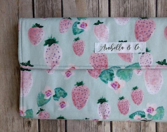 Diaper Clutch- Strawberry Fields, Diaper Clutch with Changing Pad, Diaper Holder, Diaper Clutch Pockets, Mint, Pink, Diapers and Wipes Case