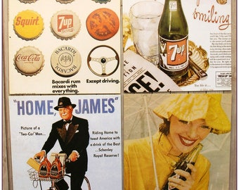 Postcard posters advertising drinks style retro vintage women soda 2 x 1 pinup