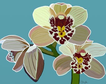 Canvas print of digital painting - Cymbidium orchid painting, cymbidium orchids art, cymbidium painting