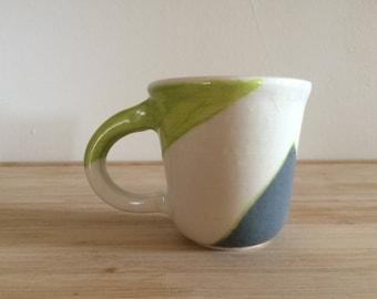 Geometric Porcelain Mug/Tea Cup in Chartreuse & Gray