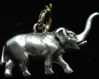 Vintage Under 50/Sterling Silver Indian Elephant Pacaderm Charm Trunk Up For Bracelet or Necklace - FREE SHIPPING
