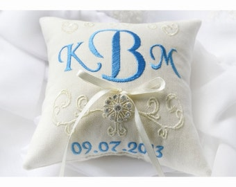 Rhinestone Ring bearer pillow, wedding ring pillow , Monogrammed ring pillow , embroidery wedding pillow (R6)