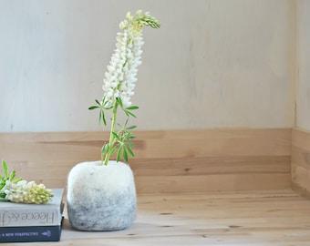 Modern Home Decor Vase Test Tube Vase with Felt Stone Hygge Housewarming Gift: Small Flower Vase, Felted bowl by Felt Interior Design