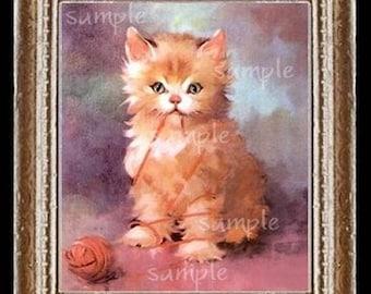 Orange Cat Miniature Dollhouse Kitten Art Picture 1172