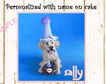 Light / Blonde Golden Retriever BIRTHDAY dog - NAME on heart - OOAK Clay Cake Topper art by Sally's Bits of Clay Original Sculpture