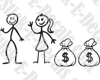 Assorted Dual Income No Kids Funny Stick Figure Family Decal Sticker FREE USA SHIPPING!