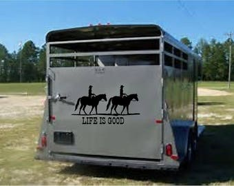 Life is Good with horse graphics- truck, trailer or barn vinyl decal