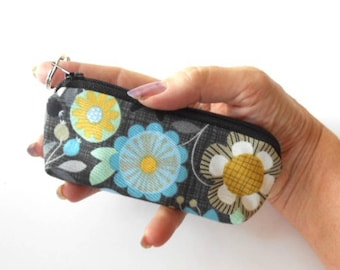 Small Coin Purse Mini Key Ring Zipper Pouch ECO Friendly Padded Lip Balm Holder Case Earbud Pouch NEW Bohemia Floral