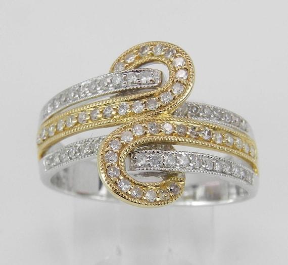 Diamond Anniversary Band Crossover Wedding Ring 14K White Yellow Gold Size 7