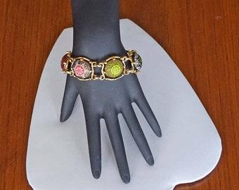 Memorial Day Sale Beautiful Goldtone 5 link Multi-Color Enameled 7-1/2 Inch Bracelet Signed Celebrity