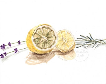 "Original Lemon and Lavender Watercolor - 8x10"" Lemon Lavender Painting - Original Art - Lemon Lavender Illustration - Lemon Picture"
