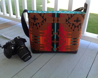 DSLR padded camera bag aztec trivial cross body strap, photography, wedding photography, travel camera bag,camera built in insert