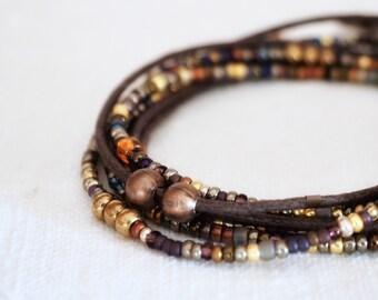 Brown and Bronze, New Wrap Bracelet, Boho, bracelet for men and women, Unisex Jewels, handmade Jewel, four strands bracelet