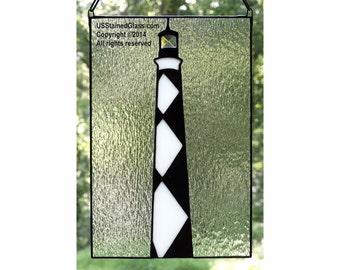 Cape Lookout Lighthouse Stained Glass Panel, Nautical Decor, Beach Decor, Coastal Decor, Lighthouse Decor, Glass Art, Beach House, Gift