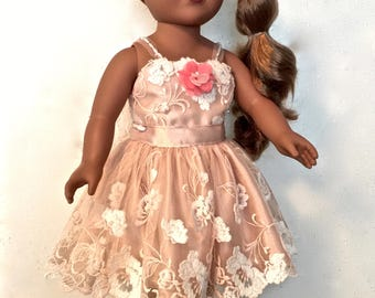 18 inch doll clothes. SPECIAL OCCASION Doll DRESS. One of a kind. Three pieces-doll dress, doll shoes and matching mini doll.