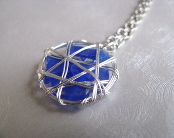 Sea Glass Pendant - Cobalt Blue - Caged Sea Glass - Beach Glass Jewelry
