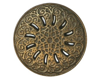 12 Byzantine 7/8 inch ( 23 mm ) Metal Buttons Brass Color