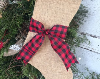 Burlap stockings with Buffalo Check, Rustic Christmas Stocking, burlap  stocking with sash, Plaid, Christmas, holidays, Christmas decor
