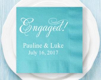 100 pcs Engaged Personalized Napkins - Engagement Napkins