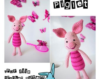 Piglet - amigurumi crochet pattern. Inspired by Winnie the Pooh film. PDF file. Language - English, Norwegian, Danish, Swedish, French