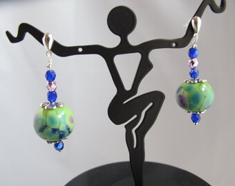 Green, Navy, and Purple Lampwork Bead Post Earrings