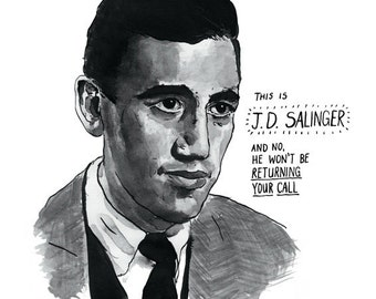 JD Salinger poster print Great American Writers