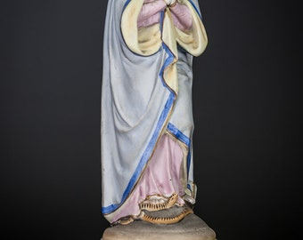 "Virgin Mary Statue | Madonna Figure | Immaculate Conception Vieux Old Paris Porcelain | 12"" Large"