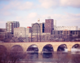 Minneapolis River View, Stone Arch Bridge, St. Anthony Main, Fine Art Photography