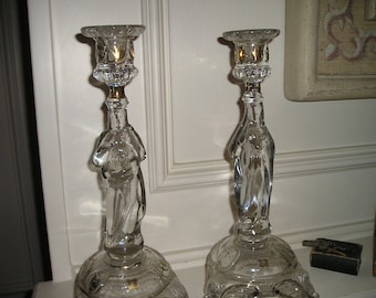 Vintage Beautiful Religious Ornate Candle Sticks/Holders Mary and Jesus Belgium Church/Altar Icons Mint.