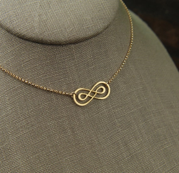 Gold Double Infinity Necklace And Gold Filled Chain Infinity